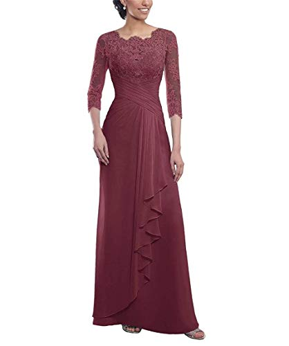 UZN Women's Sheath Mother of The Bride Dress Long 3/4 Sleeves Lace Chiffon Pleated Formal Prom Gowns abernet US16