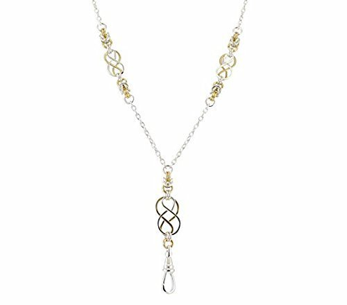 Brenda Elaine Jewelry | Real Silver and Gold Plate | Women's Fashion Lanyard Necklace for ID Badge Holders | 32 Inch Silver Chain with Two Tone Celtic Knots & Byzantine Accents & Rear Break Away Clasp