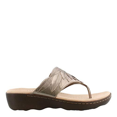 CLARKS Women's Phebe Pearl Flip-Flop Pewter Metallic Leather 090 M US