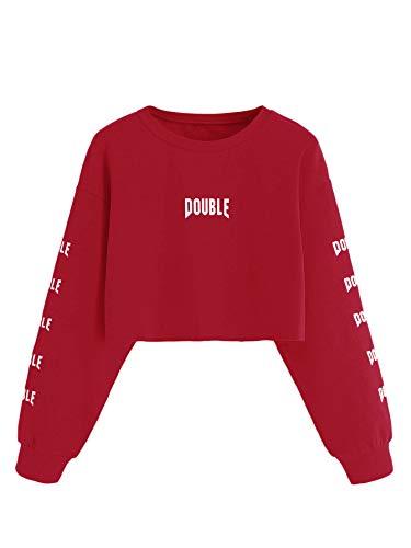 Patch Overalls (SweatyRocks Women's Crop Top Sweatshirt Hoodie with Alien Patch Burgundy S)