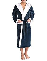 David Archy Men's Hooded Fleece Double Layer Velvet Robe Full Length Bathrobe