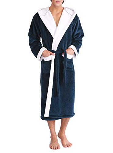 (David Archy Men's Hooded Fleece Double Layer Bonded Velvet Robe Plush Soft Full Length Long Bathrobe (S, Navy Blue))