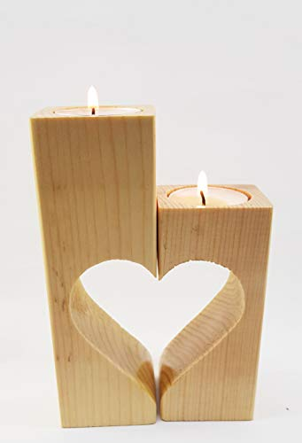 Soppigo-Tea Light Candles Holders for Tealights Rustic High Wooden Small Heart-Shaped Pedestal Design 2-Pieces Use Single or Together Kitchen Living Room Home Deco