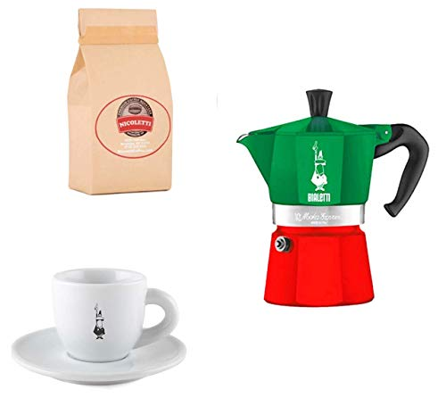 Nicoletti Espresso Roast 2lb [ Ground Coffee ] and Bialetti 3-Cup Italian Colors Moka Pot with Original Bialetti Espresso Cup/Saucer
