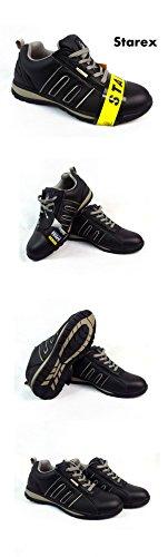 Mens Formadores Zapatos Botas de seguridad puntera de acero de trabajo tobillo de excursionista, piel sintética, SW-Grey/Black, 6 Grey/Black