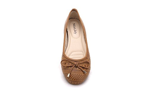 Mila Dame Dana03 Impression En Relief Synthétique Pu Chaussures Ballerine Chaussures Plates Camel