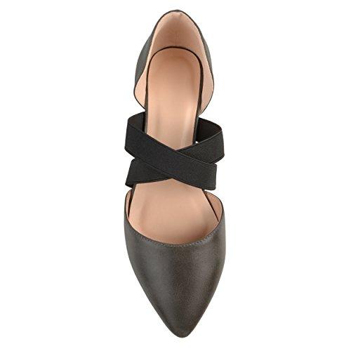 Cross Criss Womens Flats Brinley Grey Toe Pointed m1WbVcvuAS Faux Leather Rw0PBqw
