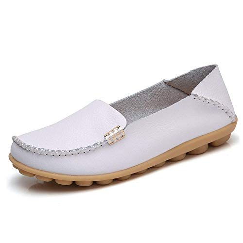 Breathable Wild Shoes Ponyka Flats White Leather Loafers Driving Moccasins Casual Round Toe Women's xOzSpxqw8