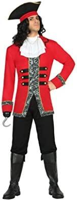 Atosa- Disfraz hombre capitán pirata, Color negro y rojo, XL (18215)