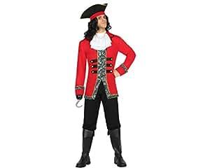 Atosa Disfraz hombre capitán pirata Color negro y rojo M-L 18214