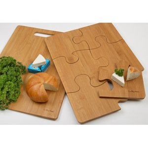 Eco Bay Home Bamboo Puzzle Serving Tray and Bamboo Cutting Board 2-piece set