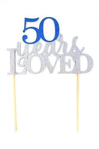 All About Details CAT50YL - Decoración para tarta de 50 años, 1 pieza de cumpleaños, Plateado y azul