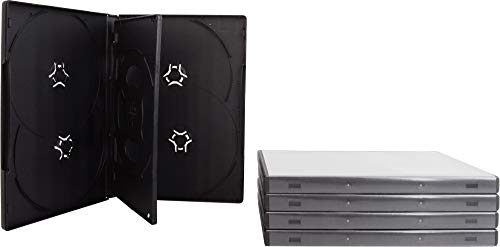 (5) 6-Disc Capacity Black 14MM DVD Empty Replacement Cases with Wrap Around Sleeve #DV6R14BK ()