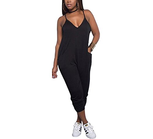 YT couple Women's V-Neck Spaghetti Straps Solid Color Romper Loose Fit Harem Leg Jumpsuit with Pockets (L) by YT couple