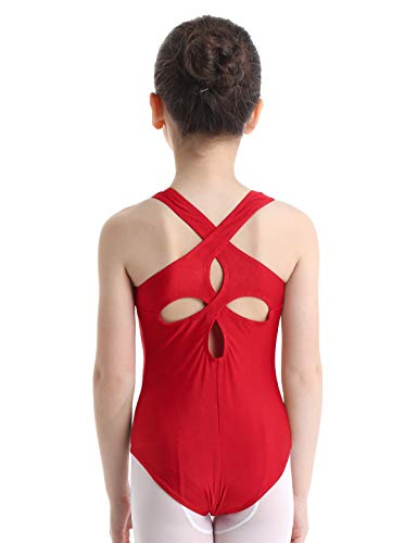 MSemis Kids Girls Solid Criss Cross Gymnastics Leotard Cutout Back Ballet Dance Wear with Back Detailing Red 11-12