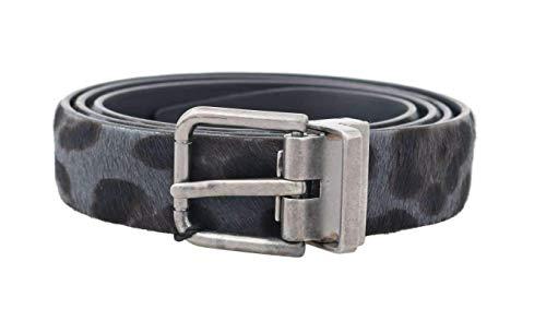 Dolce & Gabbana Gray Leopard Pattern Hair Calfskin Belt (Dolce & Gabbana Calfskin Belt)