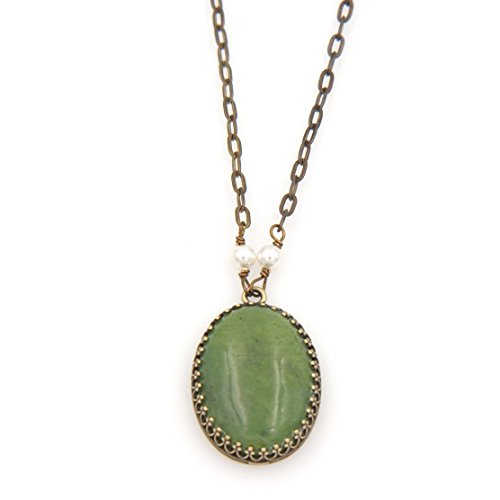 Pendant Natural Jade Longevity (Oval Serpentine(Green Jade) Gemstone Pendant Necklace - Brass Flat Link Chain, 1.25 & 17-in)