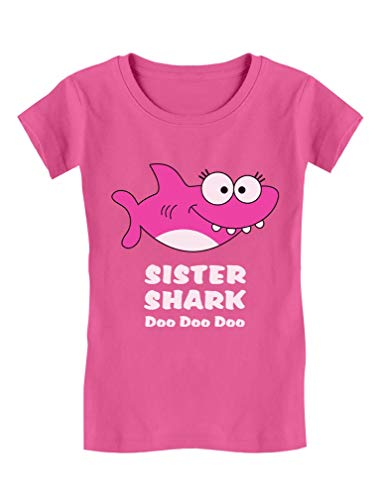 Sister Shark Doo Doo Gift for Big Sister Toddler/Kids Girls' Fitted T-Shirt 4T Wow Pink ()