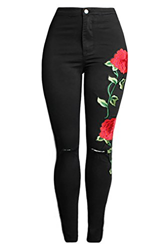Womens High Waist Flower Embroidery Knee Cut Stretch Jeans Denim Pencil (Cowboy Stretch Jeans)