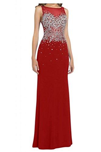 Por la noche la gasa nupcial de la Toscana EXQUISIT Rueckenfrei Prom bola de fiesta a largo vestidos de noche vestidos de moda Rojo