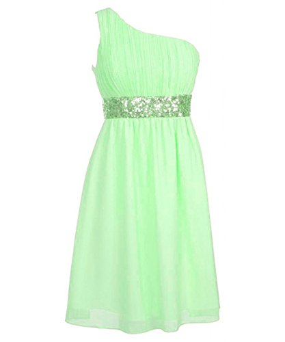 Kurz Apple Waist Green Green Brautjungferkleider Fanciest Beaded Damen Shoulder Chiffon One HnqwS16