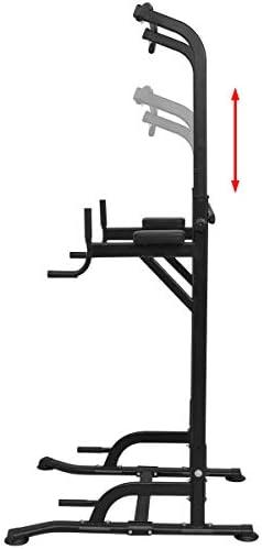 vidaXL Power Tower 182-235cm Dip Station Pull-Up Bar Weightlifting Machine