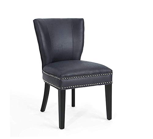 Wood & Style Furniture Underwood Traditional Microfiber Dining Chair, Navy Blue, Home Office Commerial Heavy Duty Strong Décor