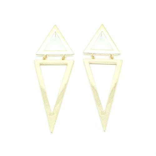 Generic Ladies Punk Fashion Enamel Geometric Triangle Earring Ear Stud Eardrop Earbob(golden) -