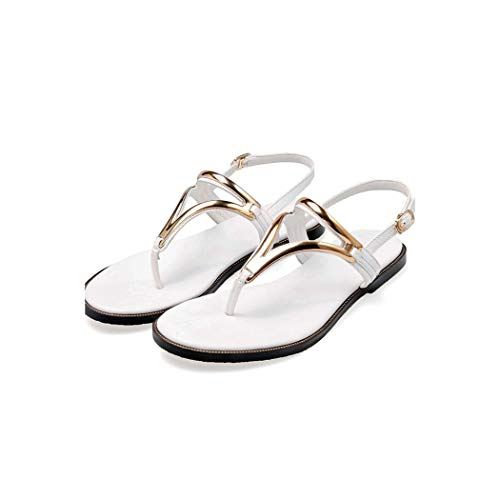 T-Strap Summer Sandals Women Comfortable Flat Casual Shoes Heels,White,8