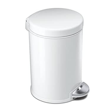 simplehuman Mini Round Step Trash Can, White Steel, 4.5 L / 1.2 Gal