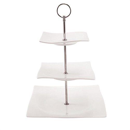 White Basics Collection, Motion 3 Tier Cake Stand, White RP11703