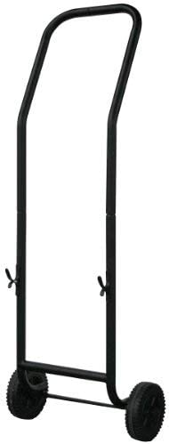 Uniflame Large Black Wrought Iron Log Rack with Wheel and Removable Cart W-1058