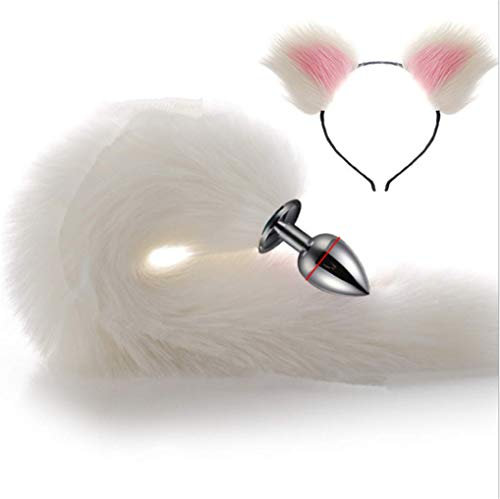 Make life wonderful White Three Sizes Fluffy Faux Fox Tail & Cat Ears Headband Charms Role Play Costume Party Masquerade Cosplay Prop (White & Pink, L) -