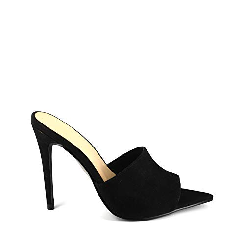 Anne Michelle Exception-02s Open Pointed Triangle Toe Stiletto High Heel Slip On Sandals Mules Black 7.5