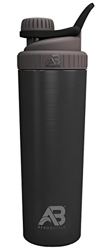 AeroBottle Primus Steel (Single Wall - Not Insulated) Water Bottle/Protein Shaker Cup - Wide Mouth, Leak-Proof Screw Cap Design with Loop for Fitness Sports and Outdoors, 32 oz - Black (Abyss)