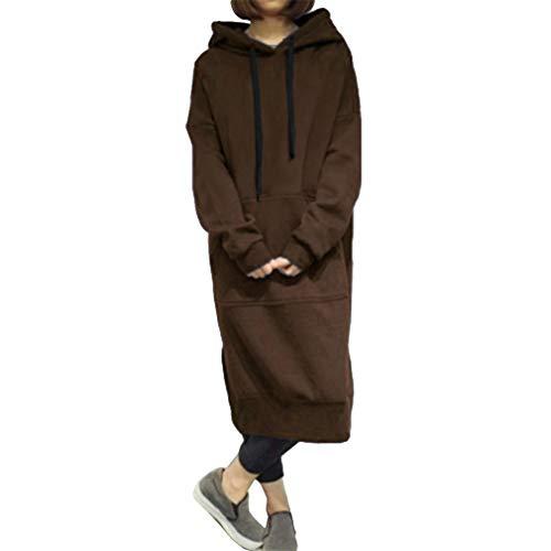 trui capuchon Zweetjurk Hoodie Dames Sweaterjurk trui met trui lange Meedot koffie capuchon met Fleece Grijsgroene lange zwart xwAI8Y8q