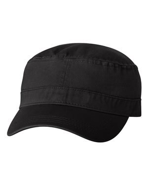 Valucap Twill - Valucap Chino Twill Fidel Cap, Black, Adjustable