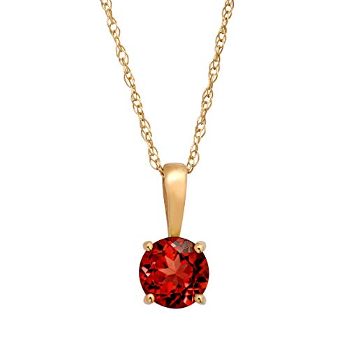 5/8 ct Natural Garnet Pendant Necklace in 10K Yellow Gold, - 9k Gold Pendant