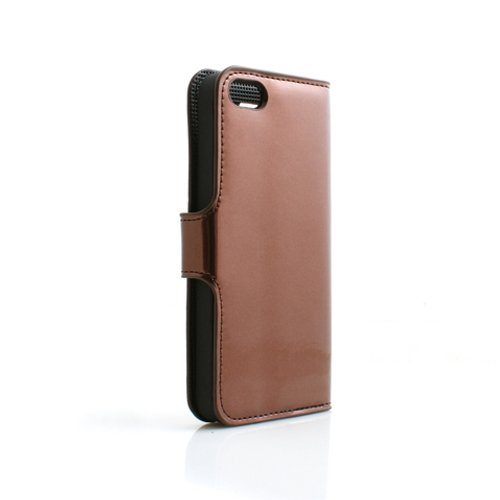 System-S Etui Schutz Tasche Case Cover Hülle Schutzhülle Bookstyle in Braun für Apple iPhone 5