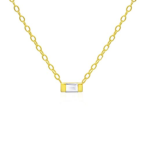 (14k Yellow Gold Plated 925 Sterling Silver Channel Set Emerald-Cut Cubic Zirconia Chain Necklace,)