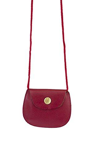 véritable rouge Pochette 9x7 cou Pochette tour Rouge enfants LEAS de 5cm sécurité cuir de en OOqIv