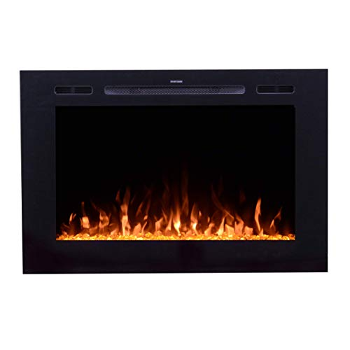 Touchstone 80006 Forte 40x26.5 Inch Wide, in-Wall Recessed Electric Fireplace, 1500/750 Watt Heater, Stone Hearth (Black) (Vent Corner Gas Fireplace Direct)