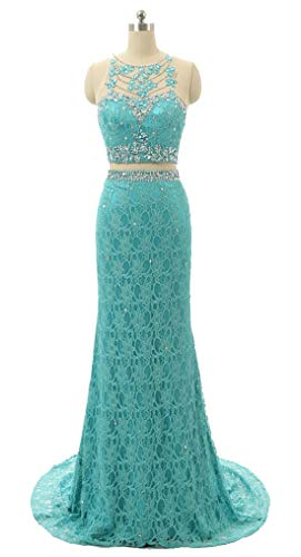 Dearta Women's Scoop Mermaid Lace Sweep Train Beads Evening Gown US 8 Turquoise