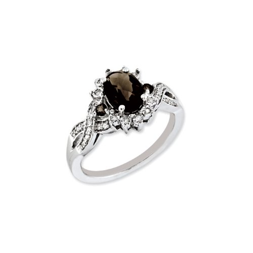 Oval Smoky Quartz & .15 Ctw (H-I Color, I2-I3 Clarity) Diamond Halo Sterling Silver Ring, Size (Faceted Oval Smoky Quartz Ring)