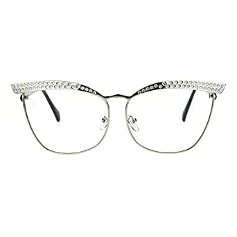 Womens Metal Rim Bling Brow Cat Eye Clear Lens Eye Glasses Silver