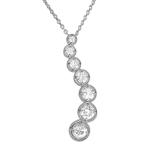 Pendant Stone Diamond Journey 7 (Elegant 14k White Gold 7-Stone Diamond Journey Wave Pendant Necklace, 18
