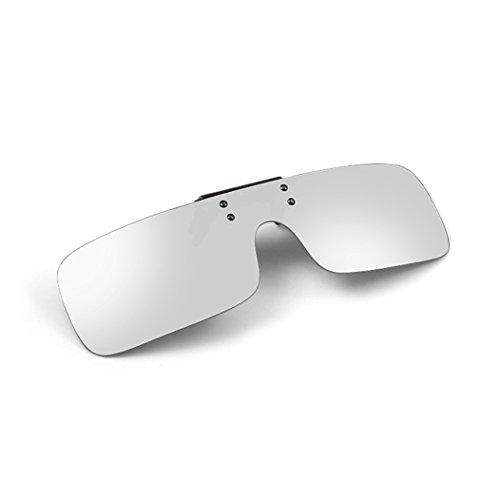 - Tacloft Rectangular Clip on Sunglasses 63MM Unisex Polarized Flip up Sunglass Silver
