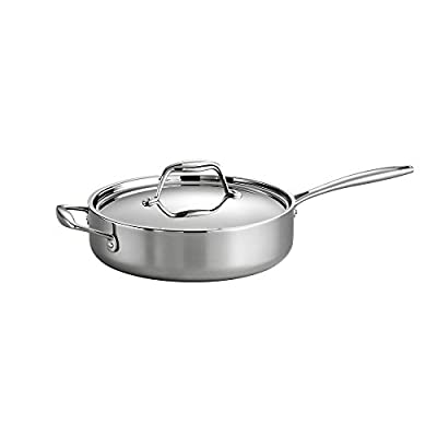 Tramontina Gourmet Tri-Ply Clad Covered Deep saute Pan Silver