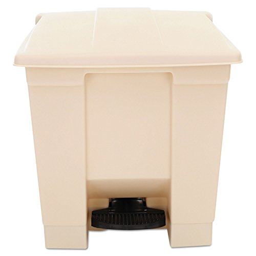Rubbermaid Commercial Step-On Waste Container, Square, Plastic, 8 gal, Beige - one waste container. by Rubbermaid Commercial
