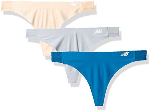 New Balance Women's Hybrid Soft Jersey Mesh Panels Thong Underwear (Pack of 3), Nude/Mink/Deep Ozone Blue, X-Small (4-6) by New Balance